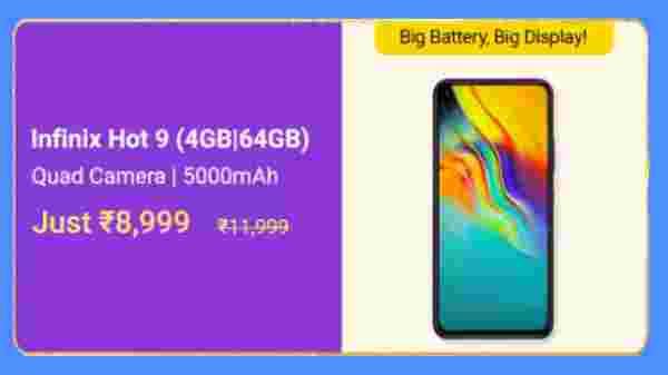 Infinix Hot 9 (MRP: Rs. 11,999, Discount Price Rs. 8,999)