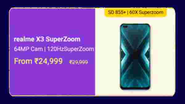 Realme X3 Superzoom (MRP: Rs. 29,999 , After Discount Price: Rs. 24,999 )