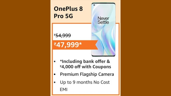 OnePlus 8 Pro (EMI starts at Rs. 2,589. No Cost EMI available)