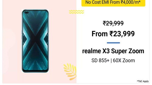 Realme X3 Superzoom (MRP: Rs. 29,999, Discount Price: Rs. 23,999)