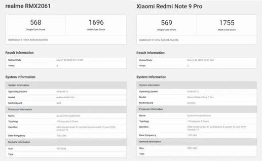 Redmi Note 9 Pro appears on Geekbench