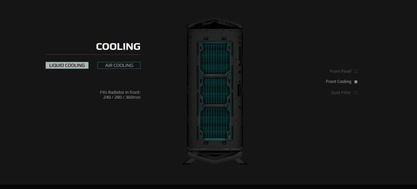 Un frontal con filtro y espacio para radiadores de hasta 360 mm.