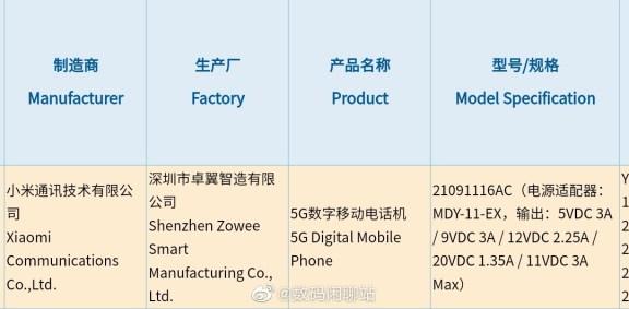 Xiaomi 21091116AC