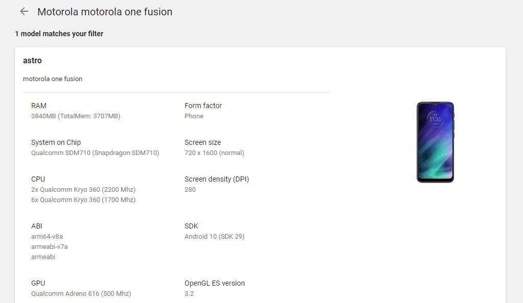 Motorola One Fusion Specs