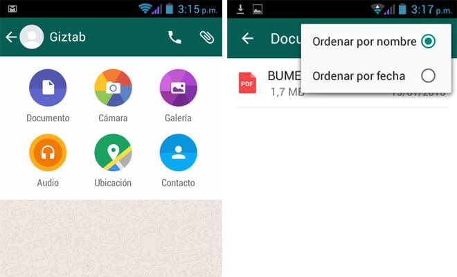 Enviar documentos por Whatsapp