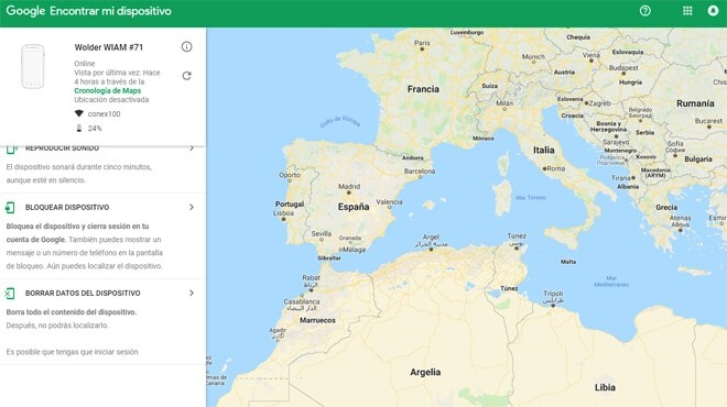 Localizar un móvil perdido y apagado con Google
