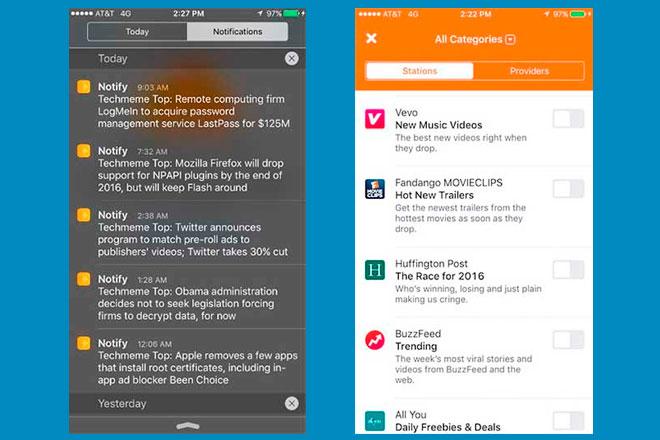 Presuntospantallazos de Notify que se han dejado ver en la Red, ilustran que ésta actuaría como una app de notificaciones.