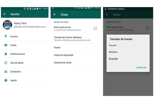 Cambiar el tamaño de la letra en WhatsApp