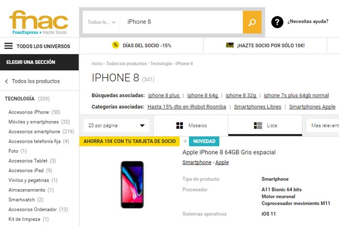 iPhone 8 en FNAC