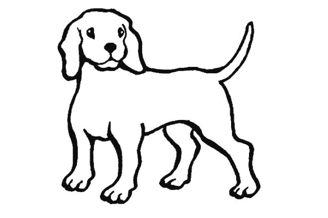 imagen de dibujo en blanco y negro de un perro