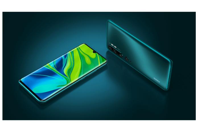 imagen de la Vista frontal y trasera del Xiaomi Mi Note 10