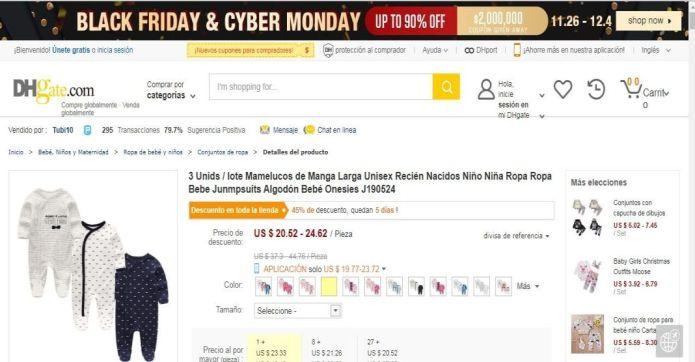 Captura de pantalla de un artículo que venden en la página de DHGate.com