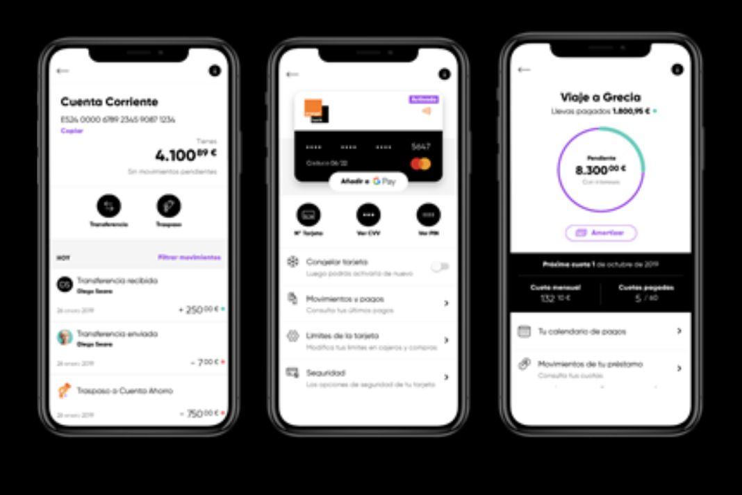 Captura de imagen de la interfaz móvil de Orange Bank