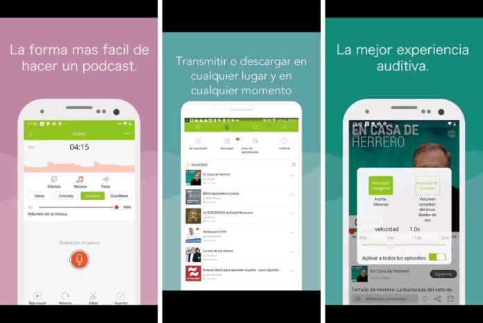 Interfaz de la Aplicación PodBean para como hacer un podcast