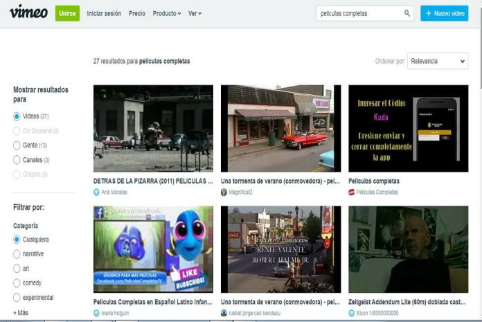 Pantallazo de la pagina web de Vimeo