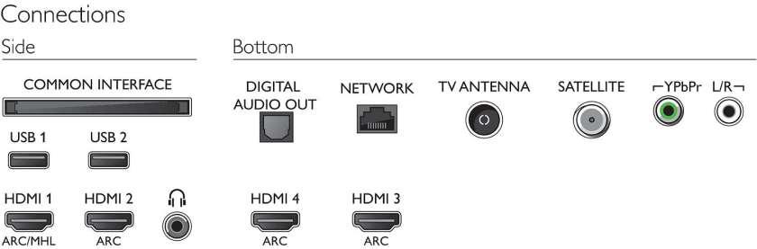 Aquí están sus conexiones físicas