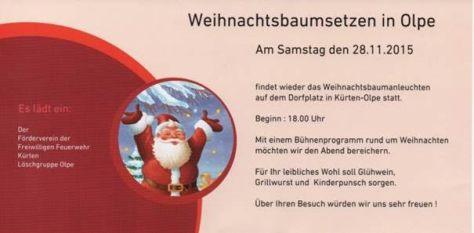 Weihnachtsbaumsetzen in Kürten-Olpe