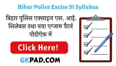 Bihar Police Excise SI Syllabus 2020 in Hindi