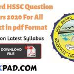 Goa Board HSSC Model Papers 2020