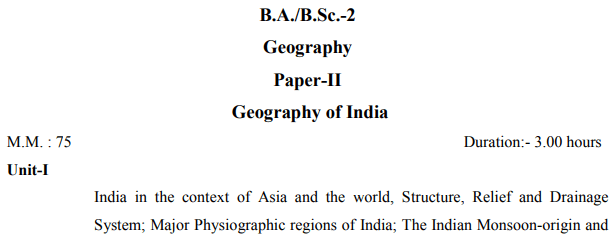 BA Second Year Geography Syllabus by VBSPU