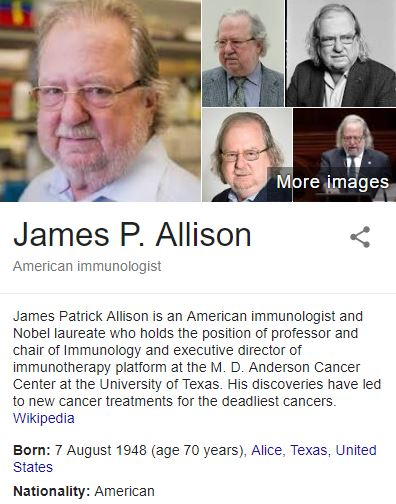 Nobel Prize For Medicine 2018 James P. Allison