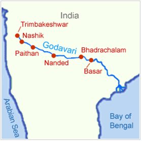 Godavari River Map Godavari River   General Knowledge Today Godavari River Map