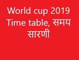 World cup 2019 Time table, समय सारणी