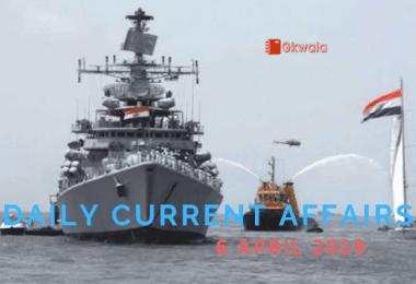 Current Affairs & GK Questions 6 April 2019