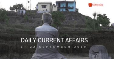 Current Affairs GK September 2019 - Hindi