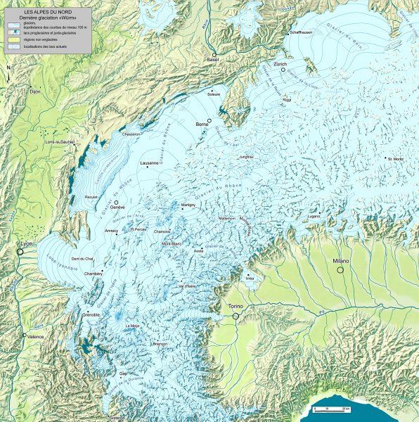 Les Alpes Nord-occidentales au dernier maximum glaciaire (Würm)