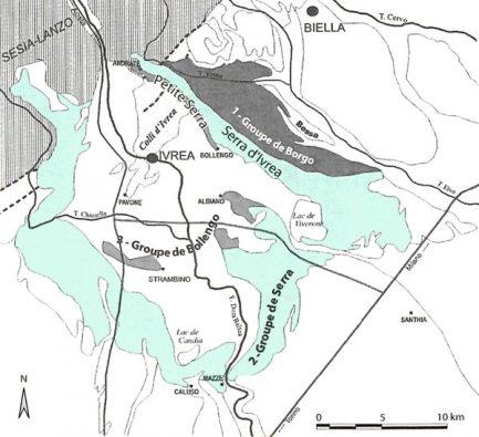 Carte de l'amphithéâtre morainique d'Ivrea (D'après Forno et Lucchesi, 2000 ; Giardino et Gianotti, 2005, modifié)