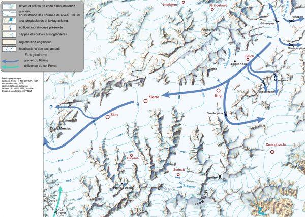 Haute vallée du Rhône, diffluences vers les appareils Italiens