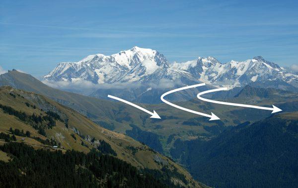 Diffluence du glacier de Tré-la-Tête par le col Joly