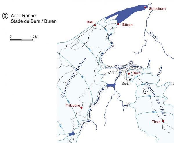 Cartographie des glaciers du Rhône et de l'Aar au stade de Berne