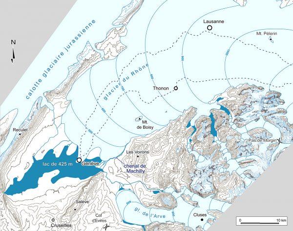 Paléogéographie des glaciers du Rhône (stades de Genève) et de l'Arve (stade des Rocailles)