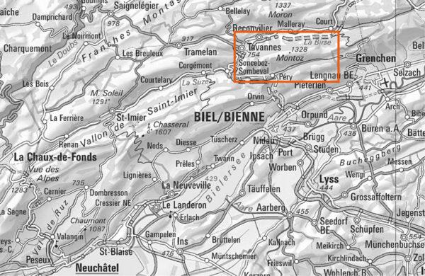 Localisation de la chaine du Monthoz (Jura bernois)