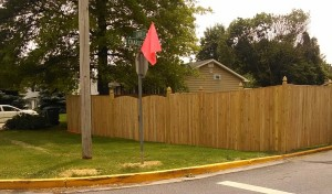 The fence, after being moved away from the corner, that prompted a review of the Town of Walkersville's rules.