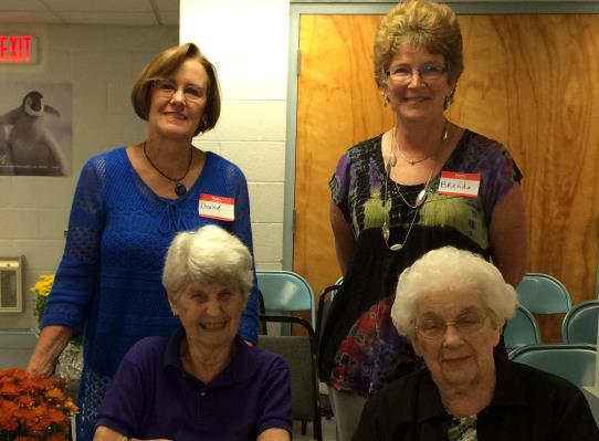 Front: Peg Bourland and Gloria Werking, Food Bank organizing committee 1990 and long time managers Back: Current co-managers Donna Swanson and Brenda Haines