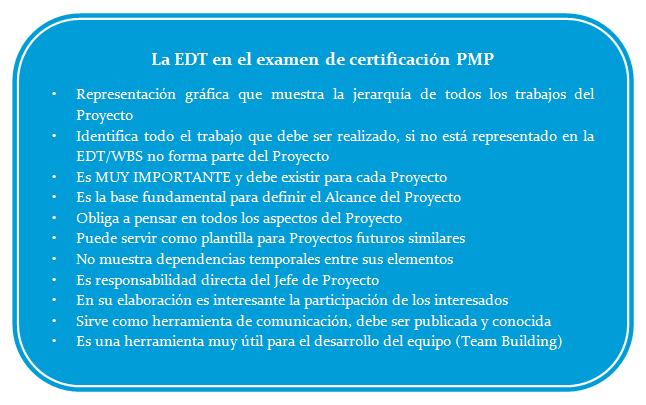 La EDT certificación PMP