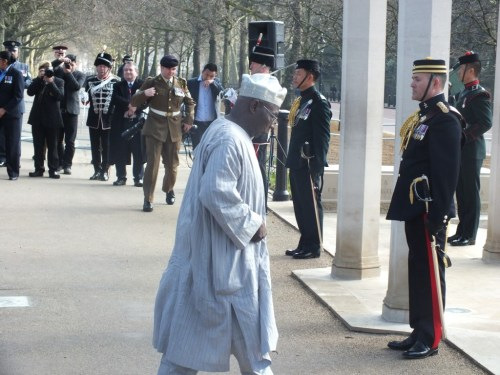 Chief Obasanjo walking to speak (Medium)