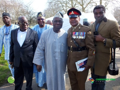 Chief Obasanjo with Otunba Fashawe at Wreath Layig (Medium)