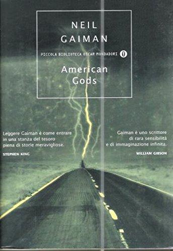 Copertina dell'editzione italiana di Neil Gaiman: American Gods, Mondadori (2002), tradotta da Katia Bagnoli
