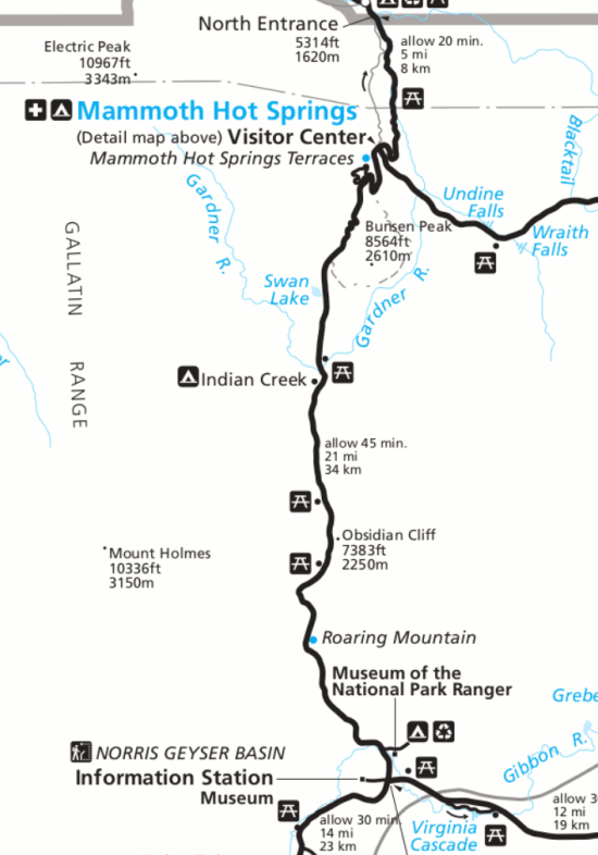 Mammoth Hot Springs to Norris Geyser Basin Map   4 Day Yellowstone Itinerary