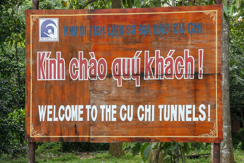 Cu Chi Tunnels entrance sign, in the South of Vietnam
