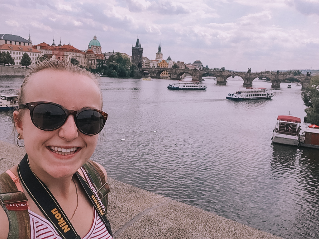 Selfie on the Charles Bridge on my 4 days in Prague itinerary