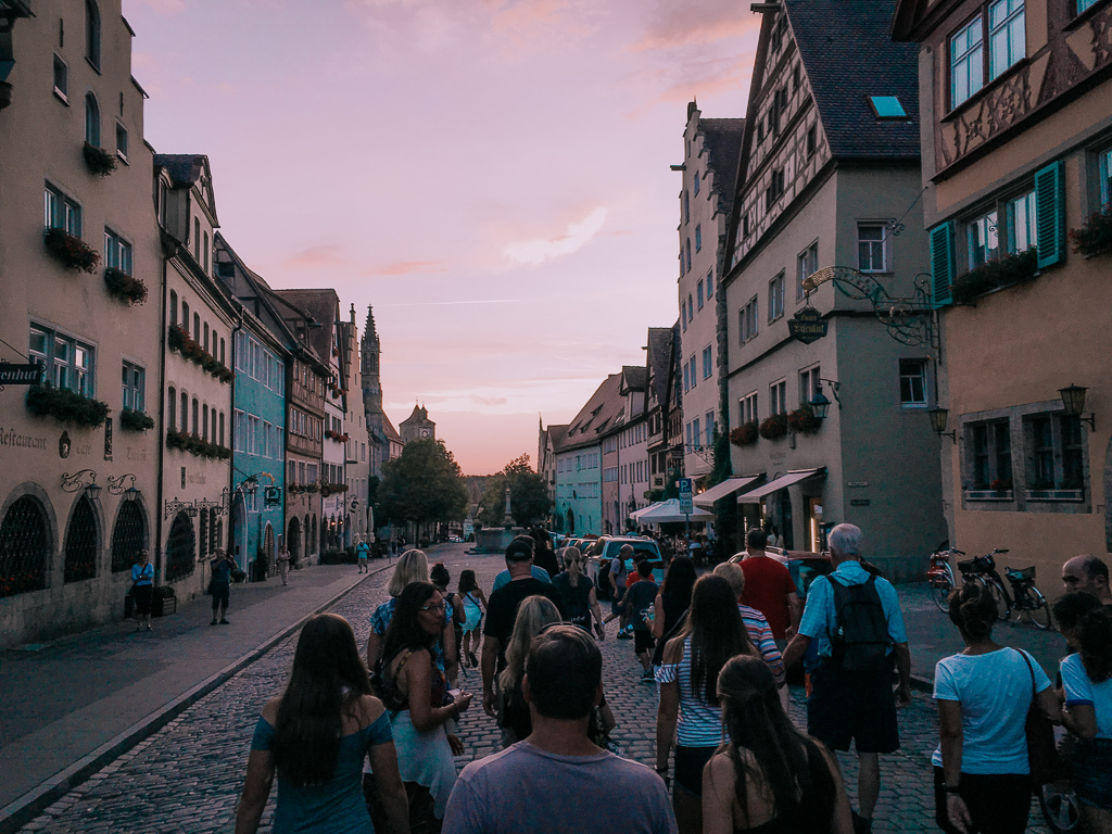 Night descends on the Rothenburg Night Watchman tour group and streets of Rothenburg ob der Tauber