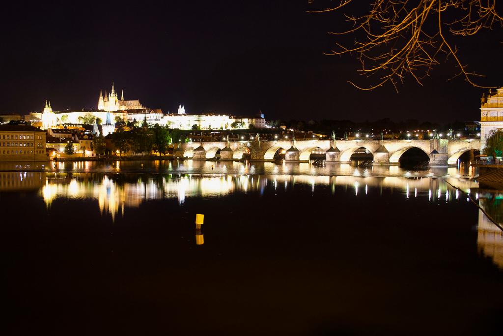 Prague Castle across the Vltava by night