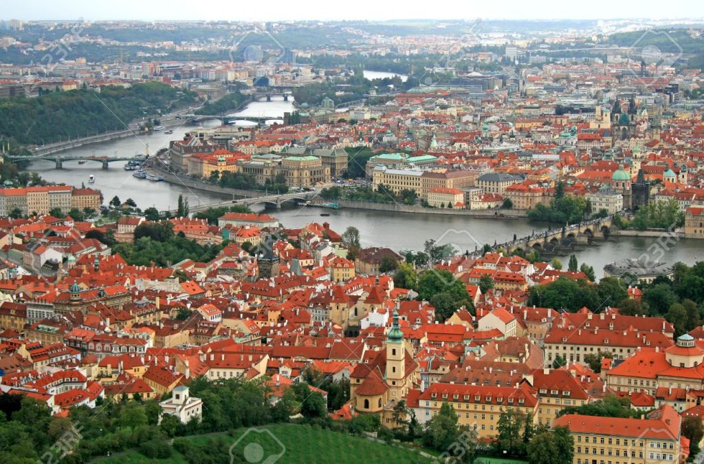 View of Prague Mala Strana and Old Town from Petrin Hill
