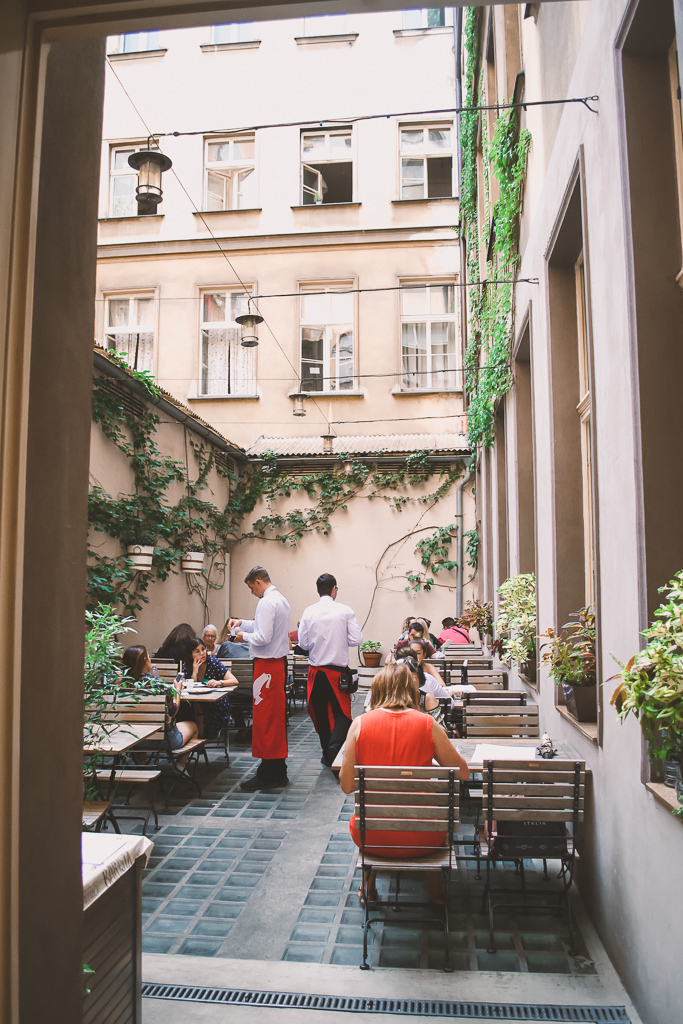 Terrace at the Cafe Louvre where you must eat during 4 days in Prague