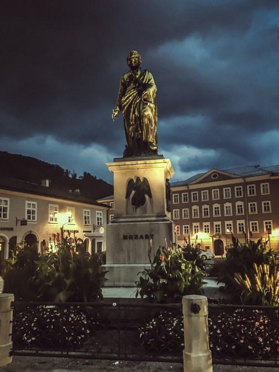 Mozart statue in Mozartplatz, Salzburg